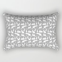 Rabbit Pattern | Rabbit Silhouettes | Bunny Rabbits | Bunnies | Hares | Grey and White | Rectangular Pillow