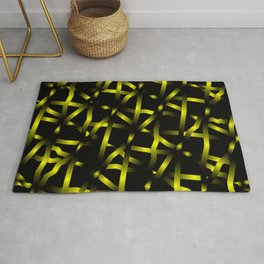 Mirrored square shards of curved yellow intersecting ribbons and dark lines. Rug