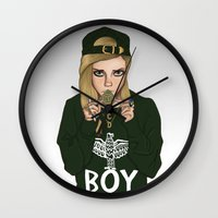 cara delevingne Wall Clocks featuring Cara Delevingne by Poppet Sketches