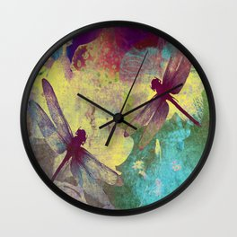 Painting Orchids and Dragonflies Wall Clock
