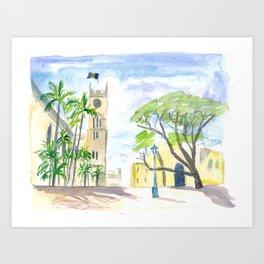 Street Scene in Bridgetown Barbados Art Print