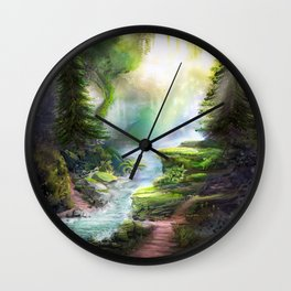 Magical Forest Stream Wall Clock