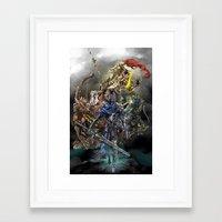 dark souls Framed Art Prints featuring Dark Souls Knights of Gwyn by Donna A. / Karniz
