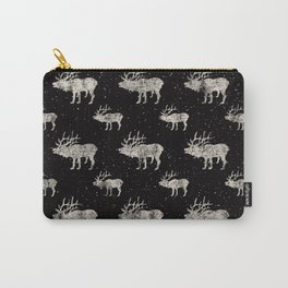 Moose in Winter Snow on Black -Wild Animals-Mix and Match with Simplicity of Life Carry-All Pouch