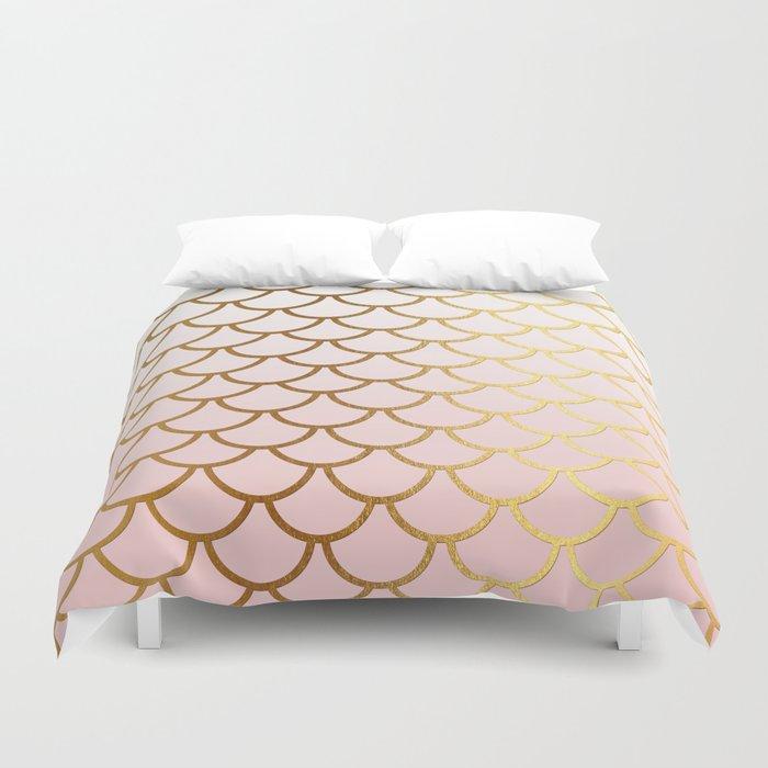 Pink Gradient And Gold Foil MermaidScales - Mermaid Scales Duvet Cover