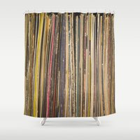 records Shower Curtains featuring Records by Cassia Beck