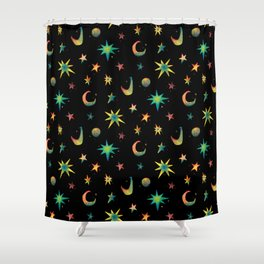 Colorful Watercolor Stars and Moons Pattern Shower Curtain