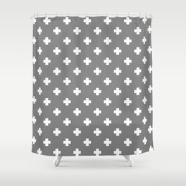 White Swiss Cross Pattern on Light Grey background Shower Curtain