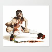 roller derby Canvas Prints featuring Roller Derby Girl by FeatherStone