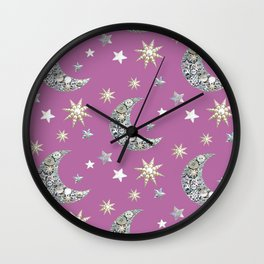 Vintage button purple pearl Wall Clock