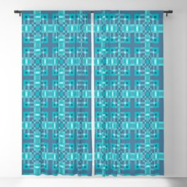 REFLECTION - bright china blue geometric squares pattern Blackout Curtain