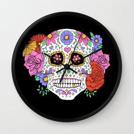 Sugar Skull with Flowers on Black Wall Clock