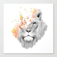 lion Canvas Prints featuring If I roar (The King Lion) by Picomodi
