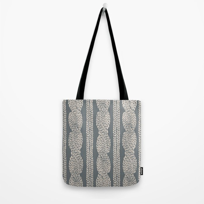 Cable Knit Grey Tote Bag