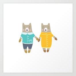 Cute pair of bears Art Print