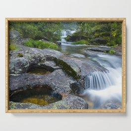 Waterfalls in wild forest Serving Tray