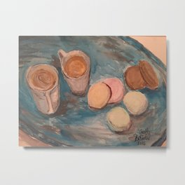 Cafe Au lait and French Macrons Metal Print