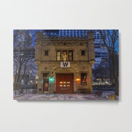 Chicago Firehouse with W flag Metal Print