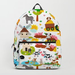 Cute Barnyard Farm Animals Pattern Backpack