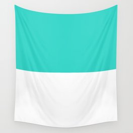 White and Turquoise Horizontal Halves Wall Tapestry
