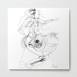 Woman and fish graphic Metal Print