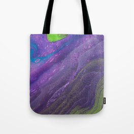 Fluid Art Acrylic Painting, Pour 29, Lime Green, Purple & Blue Blended Color Tote Bag
