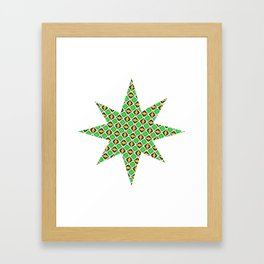 Green and Yellow Diamond Pattern Framed Art Print