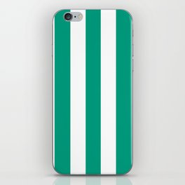 Paolo Veronese green - solid color - white vertical lines pattern iPhone Skin