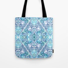 Blue and Teal Diamond Doodle Pattern Tote Bag