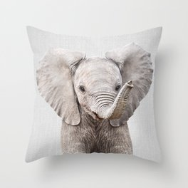 Baby Elephant - Colorful Throw Pillow