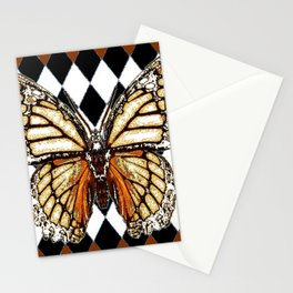 BLACK HARLEQUIN PATTERNED BROWN-WHITE  BUTTERFLY Stationery Cards
