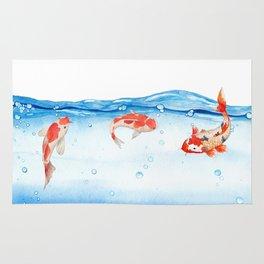 Happy koi fish- fishes sea water lake Rug