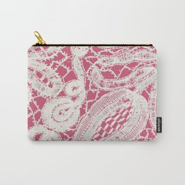 Vintage Abstract White Lace on Girly Pink Carry-All Pouch