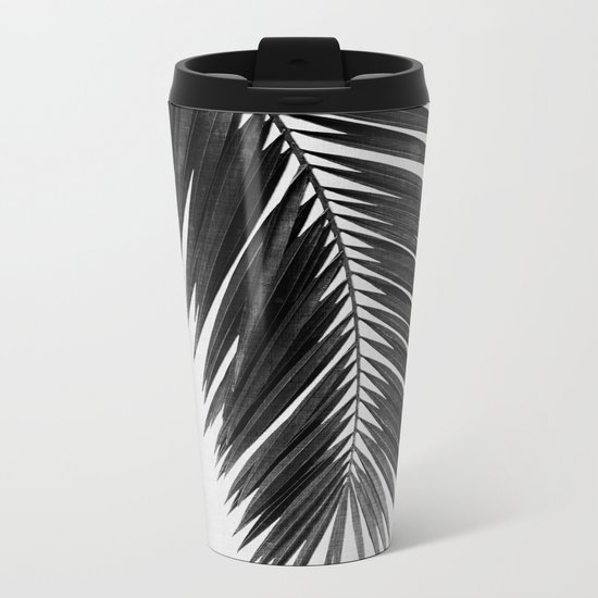 Palm Leaf Black & White I Metal Travel Mug