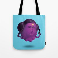 lumpy space princess Tote Bags featuring Lumpy Space Princess Leia by Joshua Ang