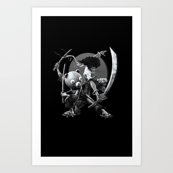 Black n white samurai art print