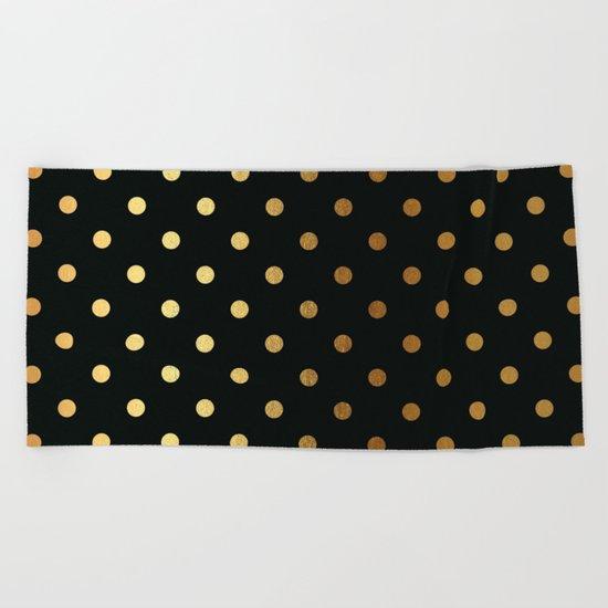 Gold polkadots on black pattern Beach Towel