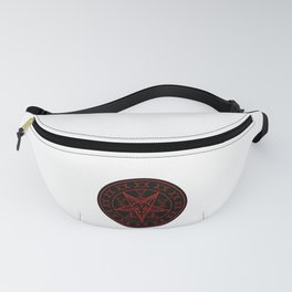 Wiccan symbols- Cross of Sulfur, Triple Goddess, Sigil of Baphomet and Lucifer Fanny Pack