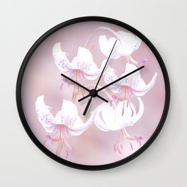 White lilies on pink background #decor #society6 Wall Clock