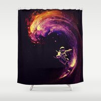motivational Shower Curtains featuring Space Surfing by nicebleed