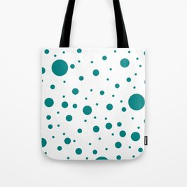 Mixed Polka Dots - Dark Cyan on White Tote Bag
