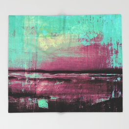 Green Color Patches Throw Blanket
