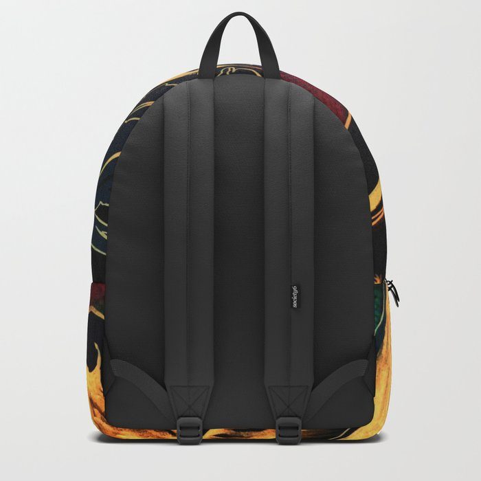 Blue Succulent Colorful Night, Black and Gold Rainbows Backpack