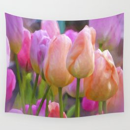 Spring Pastel Tulips Wall Tapestry