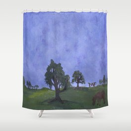 Cloudy Grazing  Shower Curtain