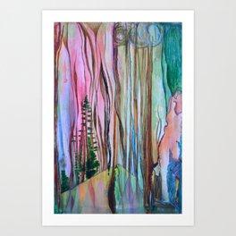 Taiga - Abstract Trees Surreal Pop Painting Art Print