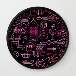 Festive City Neon Wall Clock