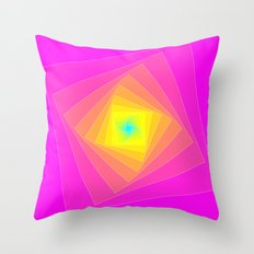 Magenta, Yellow, and Cyan Squares Throw Pillow
