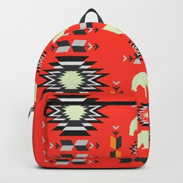 Tribal decor with bears in red Backpack