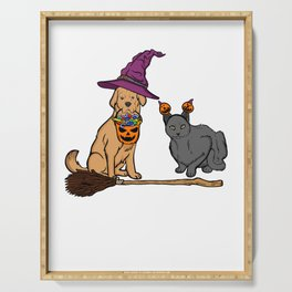 Cute Dog & Cat with Witch Broom Halloween Serving Tray